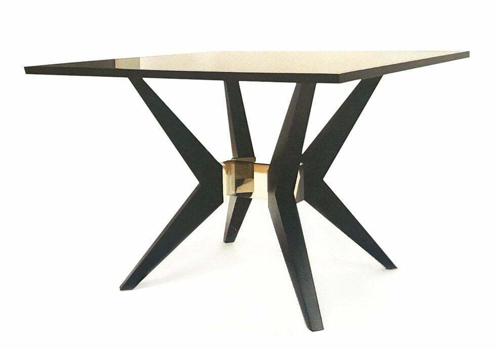 image of custo made dining table of metal and wood